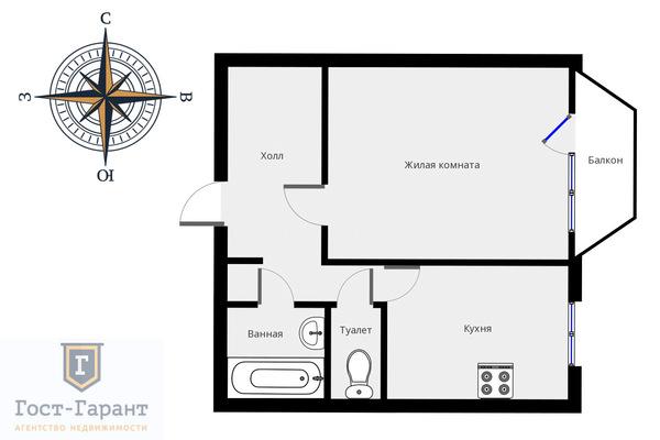 Адрес: Академика Анохина улица, дом 7, агентство недвижимости Гост-Гарант, планировка: П3М, комнат: 1. Фото 9