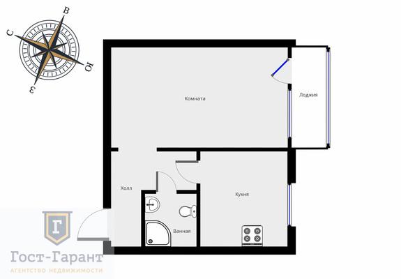 Адрес: Боровское шоссе, дом 20к1, агентство недвижимости Гост-Гарант, планировка: П-44Т , комнат: 1. Фото 9