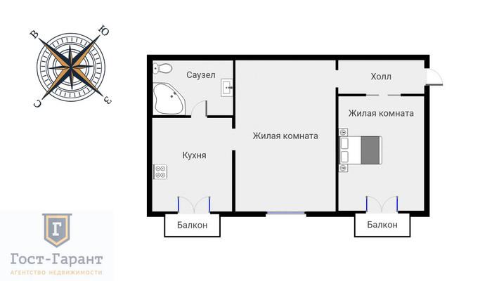 Адрес: Рижский проезд, дом 5, агентство недвижимости Гост-Гарант, планировка: Индивидуальный проект, комнат: 2. Фото 13