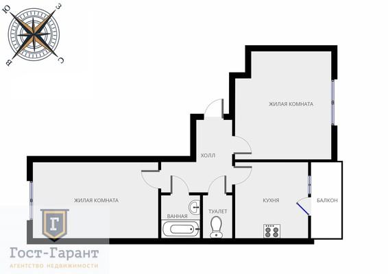 Адрес: Щербинка, Барышевская Роща улица, дом 12 , агентство недвижимости Гост-Гарант, планировка: Индивидуальный проект , комнат: 2. Фото 12