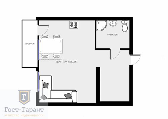 Адрес: Одинцово, Белорусская улица, дом 2, агентство недвижимости Гост-Гарант, планировка: Индивидуальный проект, комнат: 1. Фото 7