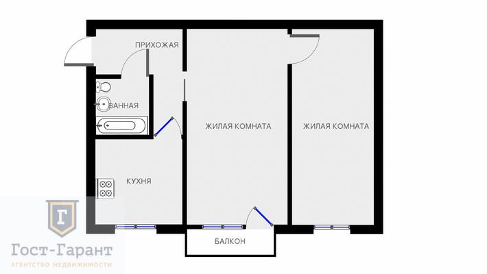 Адрес: Большая Академическая улица, дом 37, агентство недвижимости Гост-Гарант, планировка: I-510, комнат: 2. Фото 10