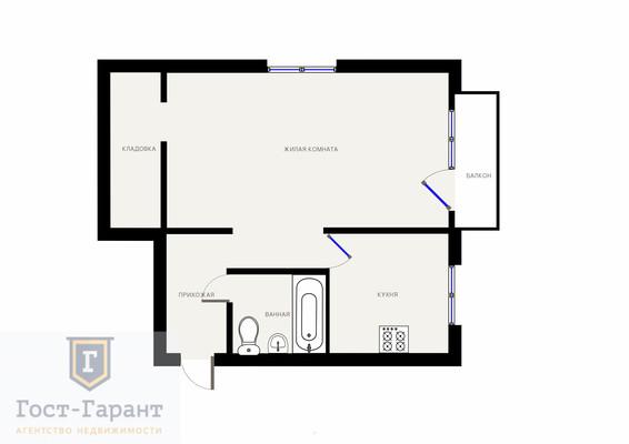 Адрес: Восточный поселок, 9 Мая улица, дом 18А , агентство недвижимости Гост-Гарант, планировка: I-447, комнат: 1. Фото 8