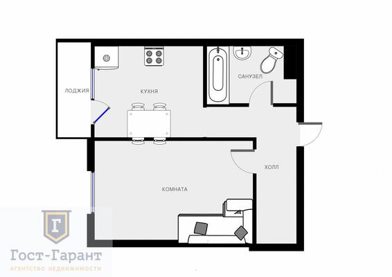 Адрес: Бачуринская улица, дом 4, агентство недвижимости Гост-Гарант, планировка: Индивидуальный проект, комнат: 1. Фото 13
