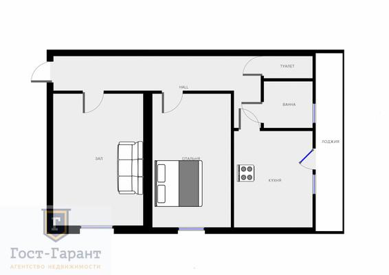 Адрес: Рижский проезд, дом 3, агентство недвижимости Гост-Гарант, планировка: Индивидуальный проект, комнат: 2. Фото 14
