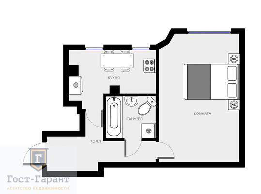 Адрес: Плющиха, дом 53/25, агентство недвижимости Гост-Гарант, планировка: Индивидуальный проект , комнат: 1. Фото 4