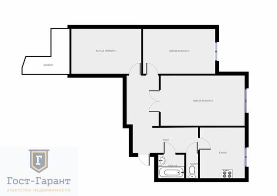 Адрес: Большая Марфинская улица, дом 4к6, агентство недвижимости Гост-Гарант, планировка: П-3М, комнат: 3. Фото 11