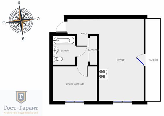 Адрес: Генерала Белова улица, дом 33/19, агентство недвижимости Гост-Гарант, планировка: 1605-АМ, комнат: 1. Фото 12