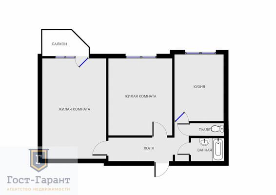 Адрес: Кантемировская улица, дом 4к3, агентство недвижимости Гост-Гарант, планировка: П3, комнат: 2. Фото 1