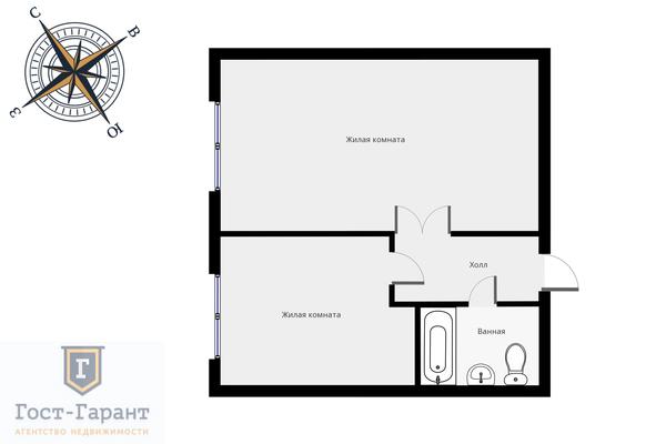 Адрес: Варшавское шоссе, дом 141к10, агентство недвижимости Гост-Гарант, планировка: Индивидуальный проект, комнат: 2. Фото 11