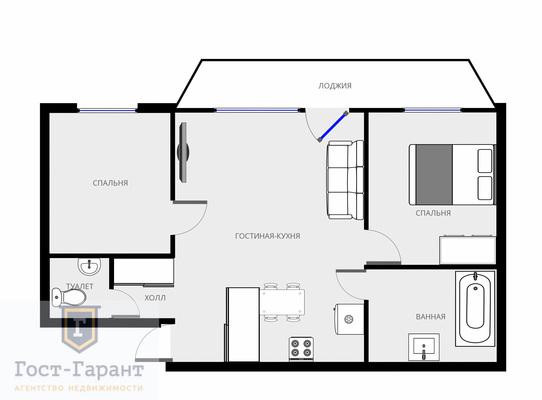Адрес: Столетова улица, дом 19, агентство недвижимости Гост-Гарант, планировка: Индивидуальный проект, комнат: 3. Фото 11