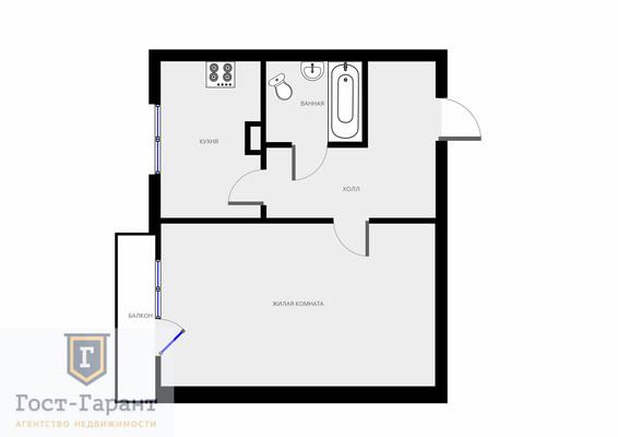 Адрес: Бирюлевская улица, дом 45к1, агентство недвижимости Гост-Гарант, планировка: П44, комнат: 1. Фото 9