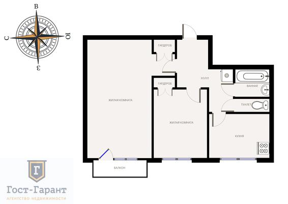 Адрес: Большой Тишинский переулок, дом 41, агентство недвижимости Гост-Гарант, планировка: II-18/12, комнат: 2. Фото 11