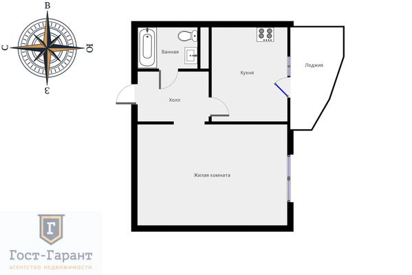 Адрес: Спасо-Тушинский бульвар, дом 2, агентство недвижимости Гост-Гарант, планировка: Индивидуальный проект, комнат: 1. Фото 10