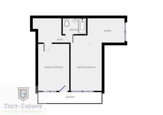 Адрес: Кусковская улица, дом 43к2, агентство недвижимости Гост-Гарант, планировка: II-29-41/37, комнат: 2. Фото 10