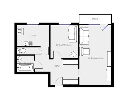 Адрес: Молдагуловой улица, дом 2к1, агентство недвижимости Гост-Гарант, планировка: И-209А, комнат: 2. Фото 12
