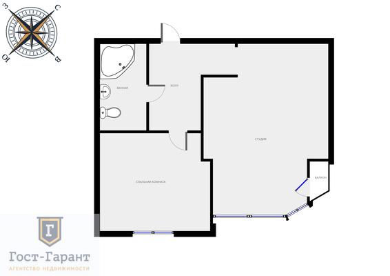 Адрес: Березовой Рощи проезд, дом 12, агентство недвижимости Гост-Гарант, планировка: Индивидуальный проект, комнат: 2. Фото 13