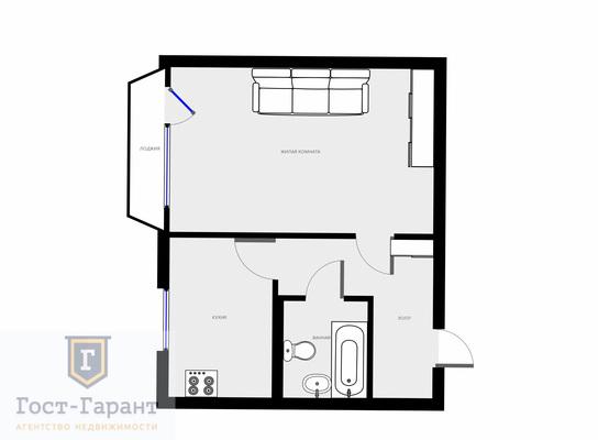 Адрес: Грекова улица, дом 7, агентство недвижимости Гост-Гарант, планировка: п44-т, комнат: 1. Фото 6