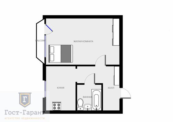 Адрес: Солнцевский проспект, дом 23, агентство недвижимости Гост-Гарант, комнат: 1. Фото 9