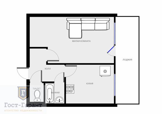 Адрес: 2-й Волконский переулок, дом 1, агентство недвижимости Гост-Гарант, планировка: II-29-Б, комнат: 1. Фото 6