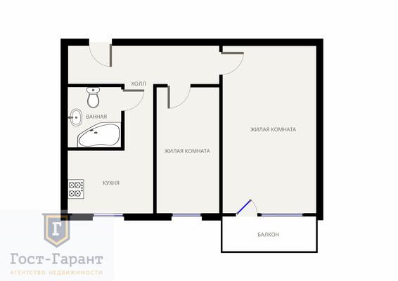 Адрес: 1-й Тушинский проезд, дом 8, агентство недвижимости Гост-Гарант, планировка: I-511, комнат: 2. Фото 13