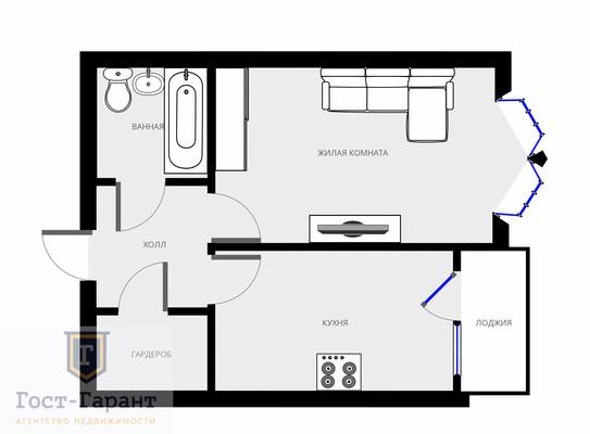 Адрес: Потаповская роща, дом 5к2, агентство недвижимости Гост-Гарант, планировка: Индивидуальный проект , комнат: 1. Фото 10