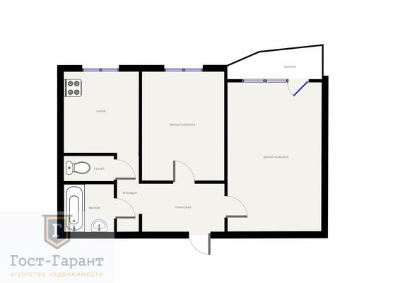 Адрес: Перерва улица, дом 33, агентство недвижимости Гост-Гарант, планировка: П-44, комнат: 2. Фото 10