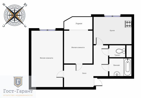 Адрес: Валдайский проезд, дом 10к1, агентство недвижимости Гост-Гарант, планировка: Индивидуальный проект, комнат: 2. Фото 13