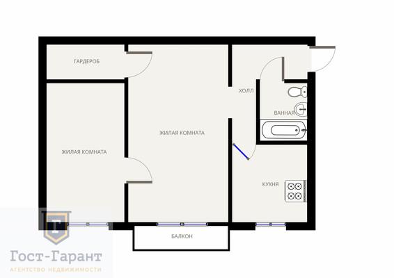 Адрес: 3-я Прядильная, дом 13к2, агентство недвижимости Гост-Гарант, планировка: И-510, комнат: 2. Фото 13