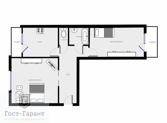 Адрес: Южнобутовская улица, дом 45, агентство недвижимости Гост-Гарант, планировка: П46М, комнат: 2. Фото 10