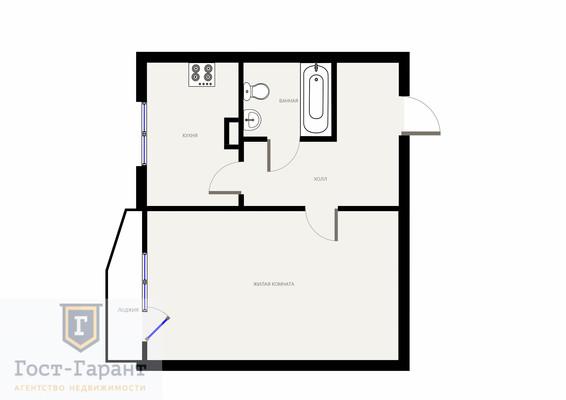 Адрес: Рублевское шоссе, дом 30к2, агентство недвижимости Гост-Гарант, планировка: П44, комнат: 1. Фото 7