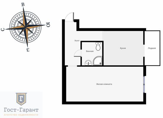 Адрес: Нагатинская набережная, дом 40А, агентство недвижимости Гост-Гарант, планировка: И-155Б, комнат: 1. Фото 16