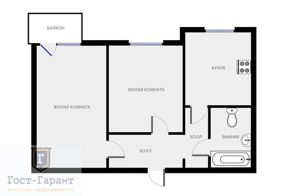 Адрес: Миклухо Маклая улица, дом 20, агентство недвижимости Гост-Гарант, планировка: П3, комнат: 2. Фото 11