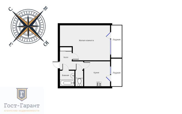 Адрес: Перерва улица, дом 24, агентство недвижимости Гост-Гарант, планировка: П46, комнат: 1. Фото 9