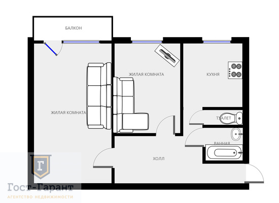 Адрес: Перекопская улица, дом 30, агентство недвижимости Гост-Гарант, планировка: П-49, комнат: 2. Фото 10