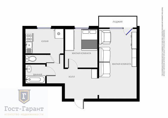 Адрес: Генерала Тюленева улица, дом 33, агентство недвижимости Гост-Гарант, планировка: П-57, комнат: 2. Фото 11