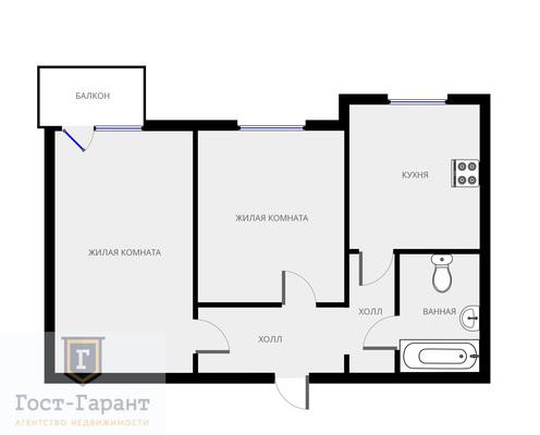 Адрес: г. Котельники, Новая улица, дом 17А, агентство недвижимости Гост-Гарант, планировка: П-3М, комнат: 2. Фото 11