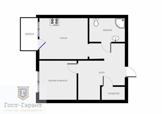 1 комнатнатная квартира в ЖК Московские Водники на Старом Дмитровском шоссе, д.11 (Долгопродный). Фото 11