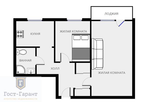 Адрес: Ставропольская улица, дом 17к2, агентство недвижимости Гост-Гарант, планировка: И-209А, комнат: 2. Фото 12