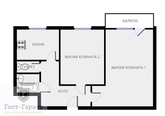 Адрес: Беговая аллея, дом 3, агентство недвижимости Гост-Гарант, планировка: Индивидуальный проект , комнат: 1. Фото 7