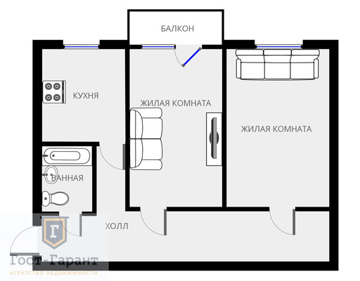 Адрес: Михайлова улица, дом 6, агентство недвижимости Гост-Гарант, планировка: I-511, комнат: 2. Фото 8