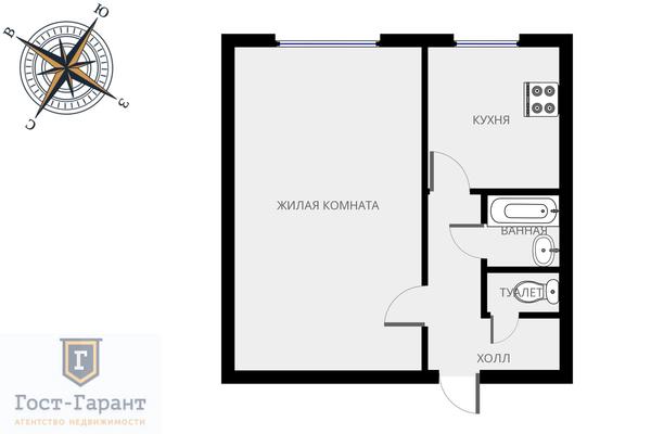 Адрес: Кавказский бульвар, дом 12, агентство недвижимости Гост-Гарант, планировка: I-515, комнат: 1. Фото 8