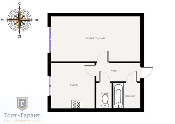 Адрес: Маршала Неделина улица, дом 30к1, агентство недвижимости Гост-Гарант, планировка: Индивидуальный проект , комнат: 1. Фото 9