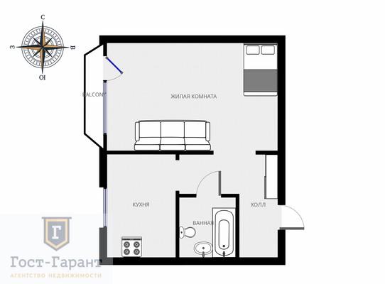 Адрес: Россошанская улица, дом 4к4, агентство недвижимости Гост-Гарант, планировка: П-44т, комнат: 1. Фото 10