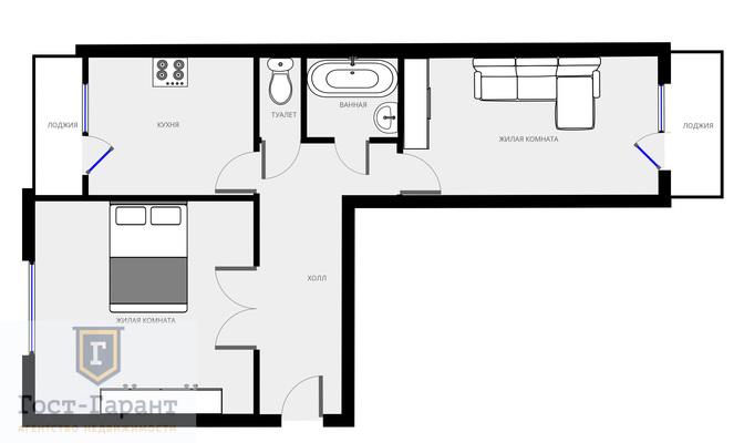 Адрес: Новокосинская улица, 6к2, агентство недвижимости Гост-Гарант, планировка: П-46, комнат: 2. Фото 13