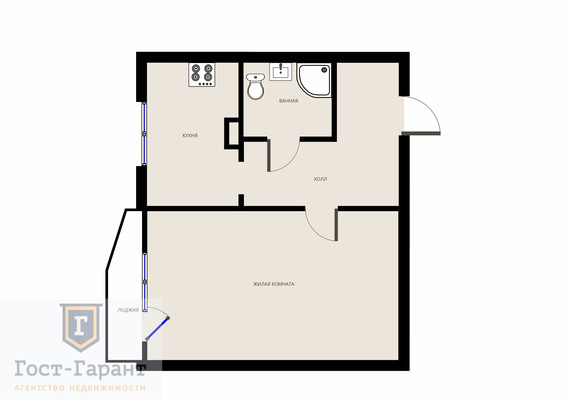 Адрес: Хабаровская улица, дом 2, агентство недвижимости Гост-Гарант, планировка: П44, комнат: 1. Фото 8