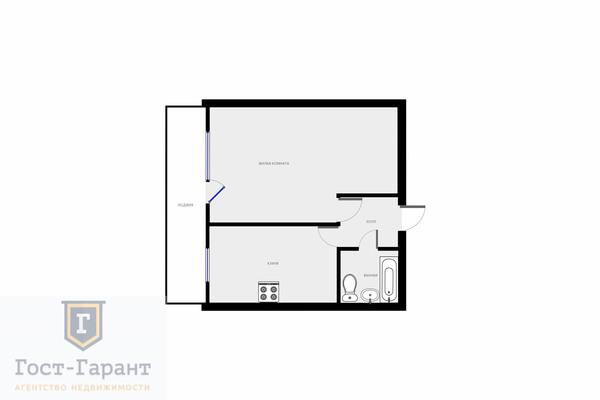 Адрес: Поликарпова улица, дом 25, агентство недвижимости Гост-Гарант, планировка:  И-209а, комнат: 1. Фото 10