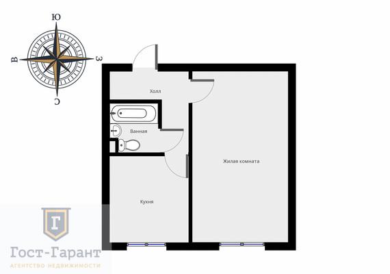 Адрес: Пришвина улица, дом 13б, агентство недвижимости Гост-Гарант, планировка: П-49, комнат: 1. Фото 8