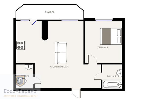 Адрес: Русанова проезд, дом 31, агентство недвижимости Гост-Гарант, планировка: Индивидуальный проект, комнат: 2. Фото 8