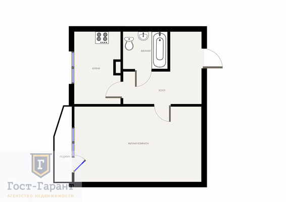 Адрес: Фестивальная улица, дом 73к1, агентство недвижимости Гост-Гарант, планировка: П-44Т, комнат: 1. Фото 13